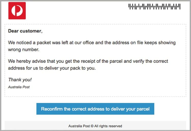 Malicious Aus Post Email