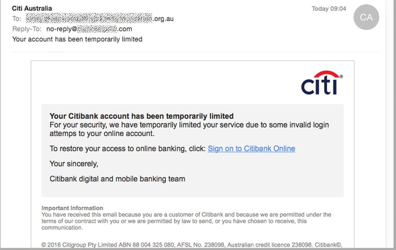 scam email citibank