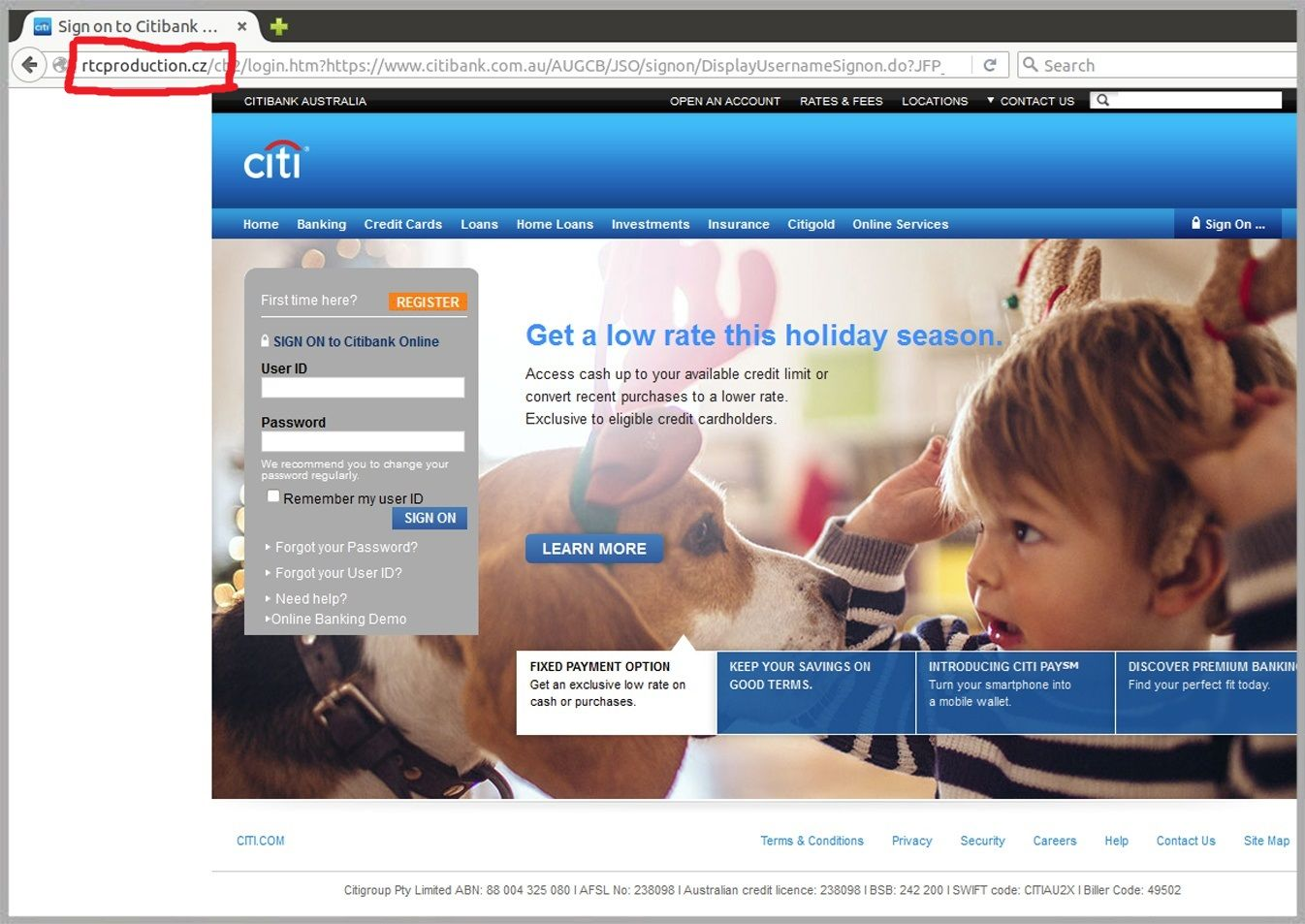 Citibank malicious email