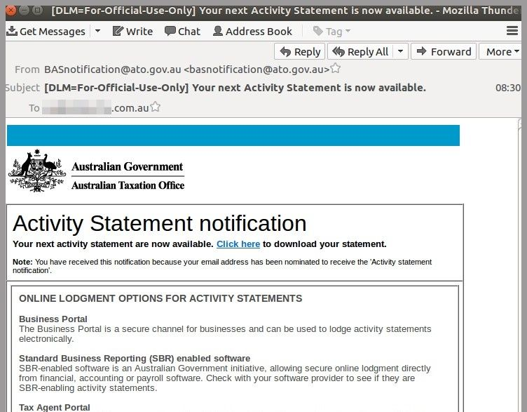 ATO scam malicious email